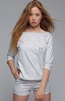 Sensis Sowa komplet Piękna dwuczęściowa piżama, bluzka o luźnym fasonie, bardzo wygodna, z kieszonką na piersi