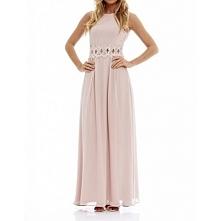 Długa szyfonowa sukienka na wesele z koronką w talii w kolorze nude