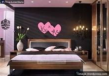 grafitowo-różowa sypialnia