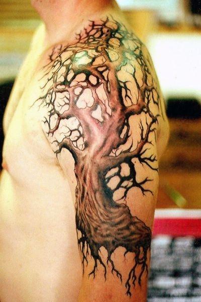 Tatuaże Męskie Drzewo Na Ramieniu Na Tatuaże Zszywkapl