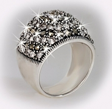 pierścionek, markazyty, cyrkonie, srebro - ostatnia sztuka, rozm. 15 - wyprzedaż -60%