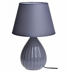 Lampa stołowa, nocna ceramiczna z podstawą prążkowaną. Podstawa lampy w kolor...