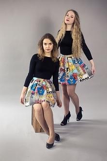 spódniczki w kolorowy komik...