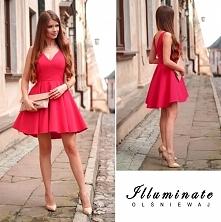 Sukienka z dłuższym tyłem malinowa CUDO <3<3<3