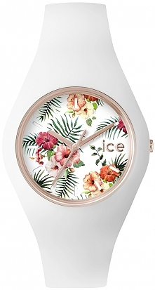 Fantastyczny, wygodny zegarek damski Ice Watch wykonany z miłej w dotyku gumy. Na tarczy widnieje wzór w egzotyczne kwiaty. Zegarek idealny na lato!