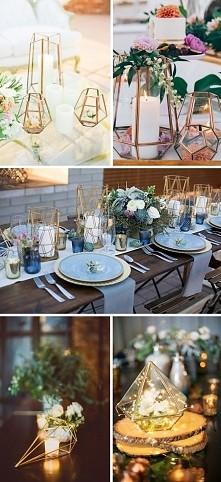 Geometryczne dekoracje na weselu