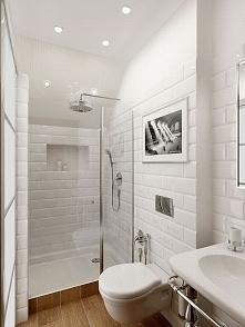 Mała jasna łazienka, mała biała łazienka, drewno w łazience, nowoczesny desig...
