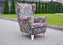 Fotel Uszak  w rewelacyjnej tkaninie