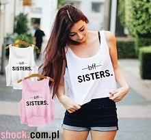 Crop top krótka koszulka do pępka z nadrukiem BFF SISTERS - koszulka dla przy...