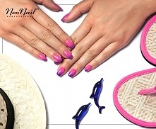 Hybrydy Neonail w kolorze Purple Bunny. Gdy jest zimno paznokcie mają kolor f...
