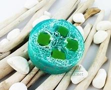 Naturalne mydło niebieska laguna z gąbką loofah delikatny peeling dostępne link w komentarzu