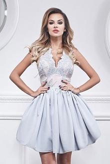 Sukienka szaro-błękitna:)