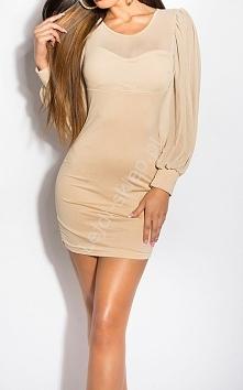 Beżowa sukienka z tiulowymi rękawami