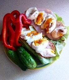 Kolacja po bieganiu <3 399 kcal: 2 kromki chleba żytniego ze słonecznikiem, sałata masłowa, wędlina z piersi z kurczaka, 2 jajka, papryka i ogórki