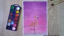 Różowy krajobraz z flamingiem