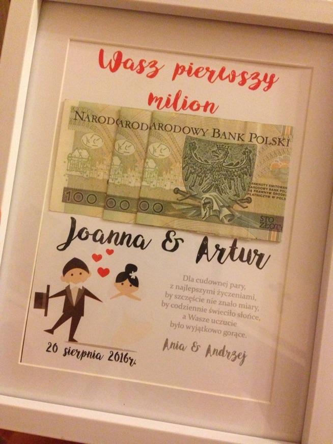 Alternatywa dla kartki na wesele ;) Ramka z pierwszym milionem młodej pary