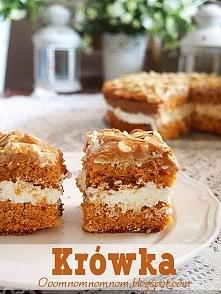 Krówka - pyszne karmelowe ciasto z kremem śmietanowym i masą krówkową :)  Skł...