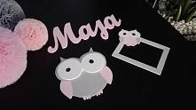 Napis Maja, ramka z sową i sowa wykonane ze sklejki drewnianej grubości 4 mm