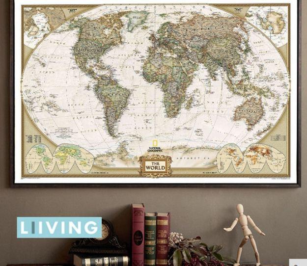 Dekoracyjna mapa świata w starodawnym stylu do ramki lub bezpośrednio na ścianę