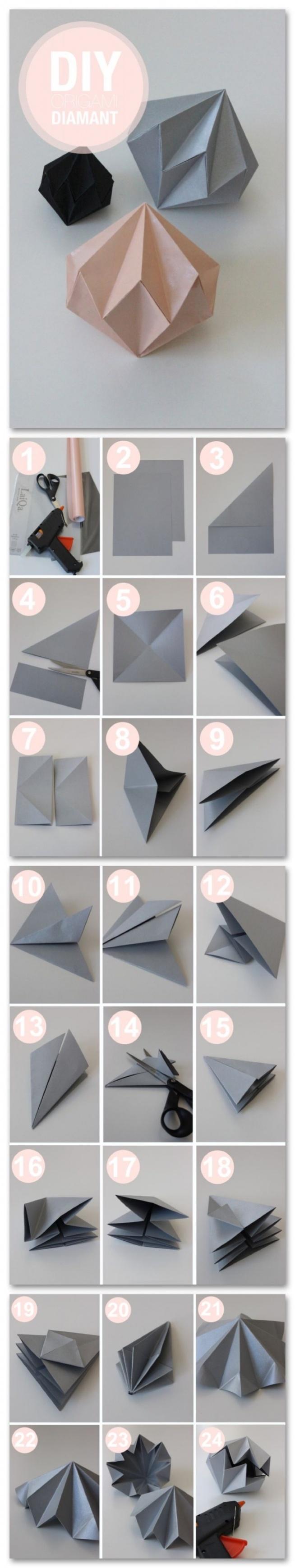 Prosty sposób na zrobienie diamencików z papieru. Pomyślcie jak wspaniale będą wyglądać z błyszczącego papieru.