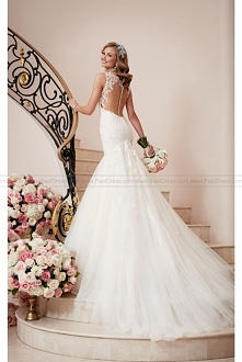 Stella York Fit And Flare Wedding Dress With Illusion Back Style 6314