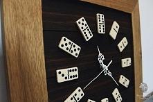 """Dębowy zegar """"Domino"""" Wykonanie ręczne, drewno dąb."""