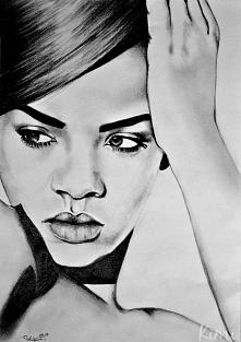 Rihanna, praca z 2013 roku, wykonana ołówkami, na podstawie zdjęcia Riri z internetu.