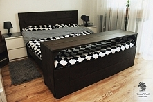 Łóżko z litego dębowego drewna + półka śniadaniowa. Wykonanie ręczne, drewno ...