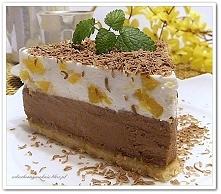 Sernik chałwowo- czekoladowy z brzoskwiniami (na zimno)-przepis klik w zdjęcie