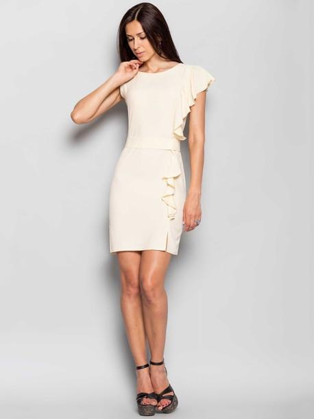 ROZMIAR: 38,40,42  Elegancka damska sukienka z oryginalnym rękawem ktory przechodzą w falbanki. Dla wygody jest przewidywany zamek blyskawiczny.  Skład 70% polyester 30% jedwab Rozciągliwość niska (do 2 cm) Parametry długość pleców 38r - 89cm, 42r - 91cm Rodzaj materiału tekstylny Pielęgnacja wyrobów prasować w temperaturze do 110°C, delikatne przepierać w temperaturze do 30 ° C, nie wybielać