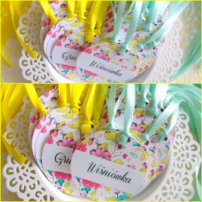 Zawieszki QUINN z kwiatowym ornamentem oraz tasiemkami z dwóch kolorach: mięta i cytryna :) Masz pytania? Pisz! :) kraina_czarow@interia.pl