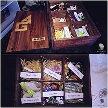 Drewniane pudełko na prezent ślubny. Wykonanie ręczne, drewno jatoba, napis dąb.