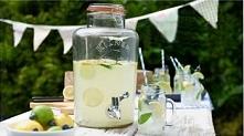 Zestaw: Słój szklany (dyspozytor, dozownik) do napojów (pojemność: 8 litrów) - Kilner + 2 Słoiki - szklanki z uchem (pojemność: 400 ml) – Kilner