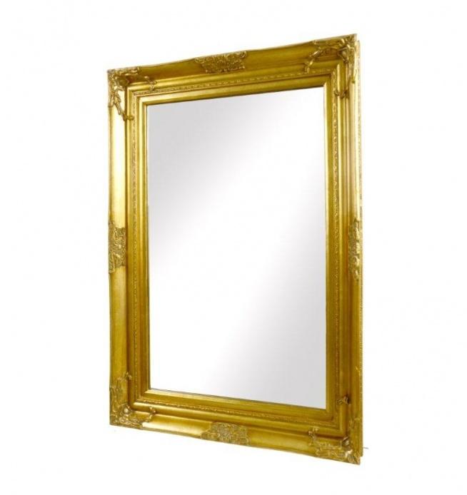 Lustro wiszące w złotej rzeźbionej ramie. Idealne lustro na korytarz lub do łazienki. Pasuje jako dekoracja i ozdoba do dodatków w kolorze złotym. Piękny dodatek do wnętrz w stylu retro. Lustro z tyłu posiada zawieszki umożliwiające powieszenie na ścianie. Rama grubości 4 - 5 cm.