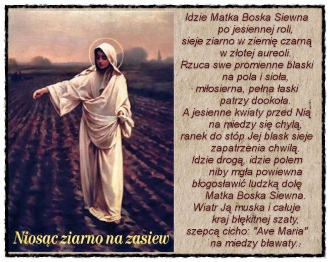 Dziś 8 września Święto Narodzenia Najświętszej Maryi Panny, czyli Matki Bożej Siewnej.