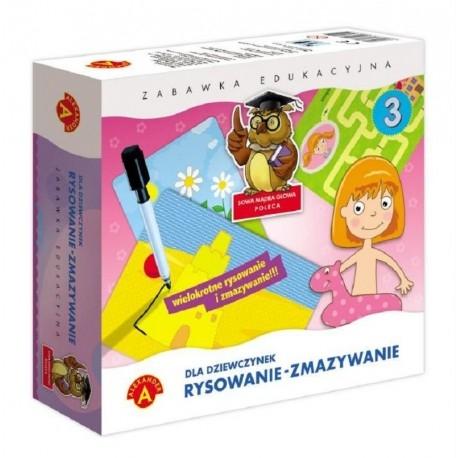 Witajcie:)   Zabawka Edukacyjna Rysowanie Zmazywanie dla Dziewczynek od lat 4.   Zabawa polega na rysowaniu po śladzie - dziecko uczy się właściwego kształtu przedmiotów, ćwiczy swoje umiejętności manualne, spostrzegawczość, koncentracje oraz logiczne myślenie i kojarzenie.  Wszystko dzięki 28 plansz na 14 tablicach.  Sprawdźcie sami:)
