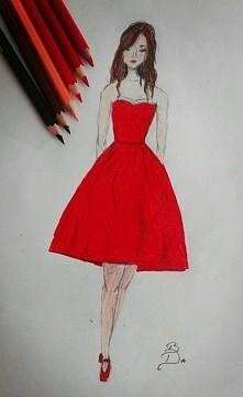 Rysunek/ projekt sukienki i...