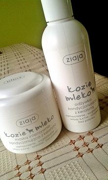 """Maska i odżywka Ziaja Kozie Mleko z keratyną. Dla mnie świetne produkty, stosuję maskę przed myciem na około 15, 20 minut, oraz po myciu odżywkę """"na szybko"""", pozostawi..."""