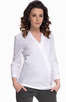 9fashion Felicita II koszula biała Elegancka koszula damska, klasyczny fason, dekolt w szpic wykończony plisą, dlugie rękawy z mankietami