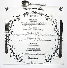 Serwetka z nadrukowanym menu weselnym <3
