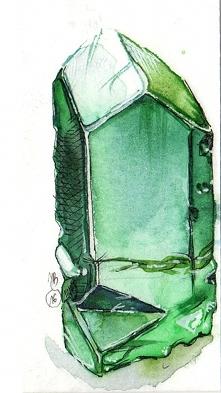 Cudny zielony kryształ malowany akwarelami