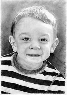 Portret chłopca, format A4, ołówki.