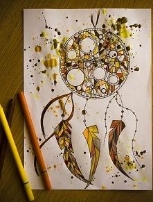łapacz snów w moim wydaniu, cienkopisy i farba