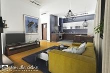 Miła projekt gotowy domu jednorodzinnego - propozycja dla miłośników tradycyjnej architektury. Pełna wizualizacja na naszej stronie. Widok salonu z aneksem kuchennym.