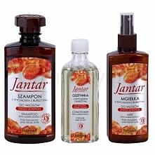 Zestaw do włosów JANTAR  W skład zestawu wchodzi szampon, wcierka oraz mgiełka. Ja zakupiłam wersję do włosów zniszczonych. Zapłaciłam w aptece 25 zł. Szampon - typowy, oczyszcz...