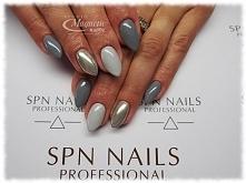 Light Grey & Shade of Grey Nails by Monika, Studio Magnetic Nails Monika Sokołowska Kielce, SPN Instructor