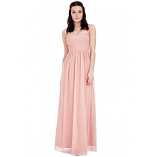 Ekskluzywna długa sukienka na wesele z ozdobnym gorsetem pudrowy róż