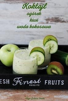 Składniki na 2 porcje: 1/2 ogórka 1 zielone jabłko 1 kiwi 1 szklanka wody kok...