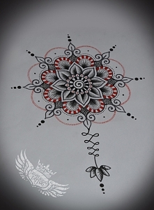 mandala dotwork /linework tattoo wieczorny bazgrołek