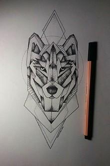 Geometryczny wilk mojego autorstwa :) możliwość sprzedaży projektu na tatuaż :)